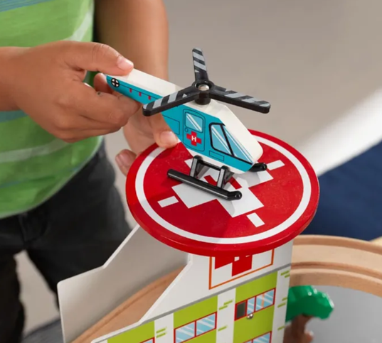 Large Aero City Train Set with Airport and Helicopter by Kidkraft