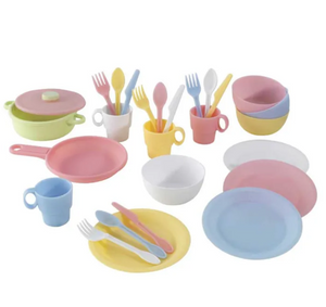 KidKraft's 27 Piece Pastel Cookware Set Toy for Toddlers