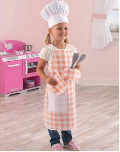 Tasty Treats Chef Play Uniform Set with Apron and Chef Hat in Pink