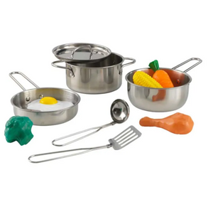 Kids Deluxe Cookware Set with Food Toys and Toy Pots