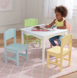 Nantucket Childrens White Table and 4 Chair Set in Pastel by Kidkraft