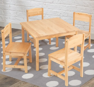 Farmhouse Kids Table and 4 Chair Set - Natural Wood by Kidkraft