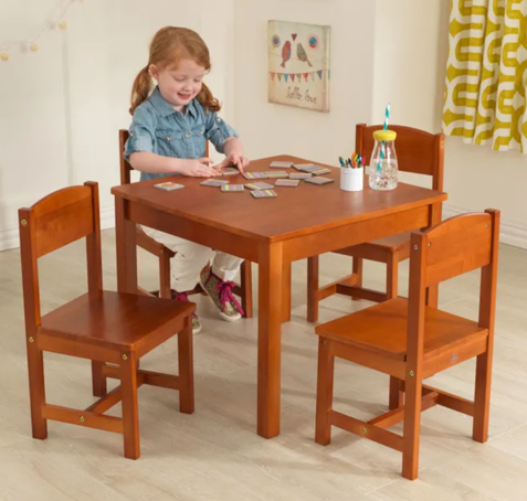 Farmhouse Kids Table and 4 Chair Set - Pecan by Kidkraft