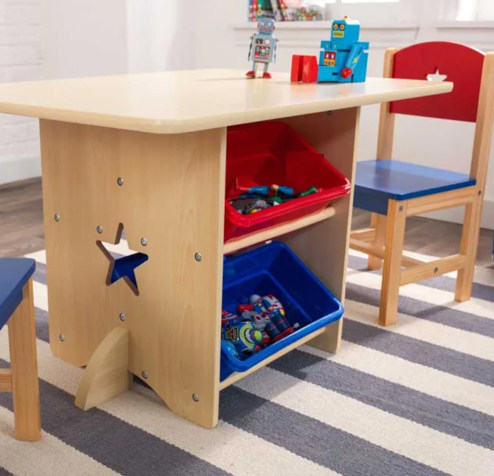 Star Table and Chairs for Kids - Blue and Red