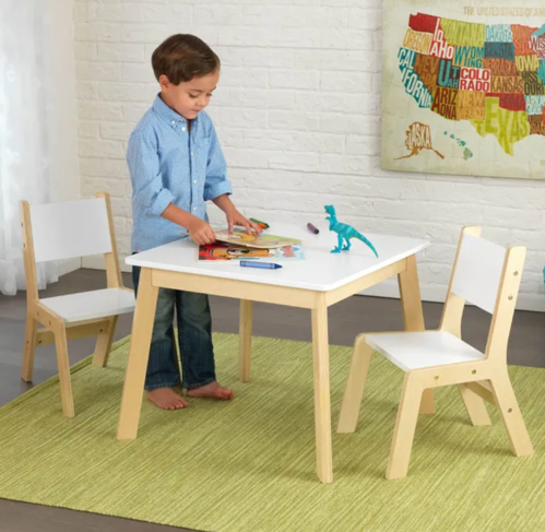 Modern Kids Table and 2 Chair Set in White by Kidkraft