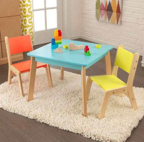 Modern Kids Table and 2 Chair Set in Highlighter Light Colors