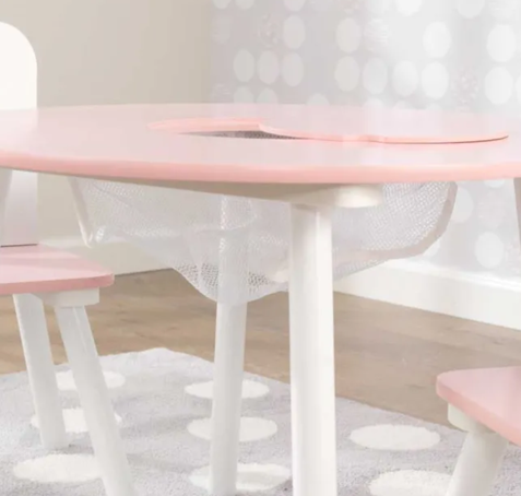 Round Kids Storage Table and 2 Chair Set - Pink and White by Kidkraft