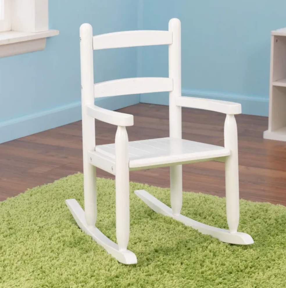 Kids Wooden Rocking Chair with Arm Chair - White