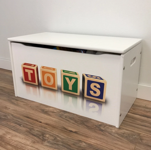 Classic Toy Box with Block TOYS Letters for Kids