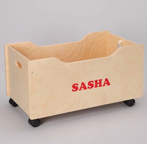 Personalized Pull Cart Wood Toy Box with Wheels for little Kids and Toddlers
