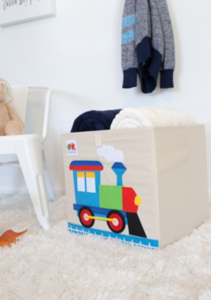 Kids 13x13x13 Inches Storage Cube in Polyester - Felt Train