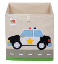 Kids 13x13x13 Inches Storage Cube in Polyester - Felt Police Car