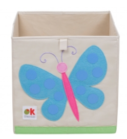 Kids 13x13x13 Inches Storage Cube in Polyester - Felt Butterfly