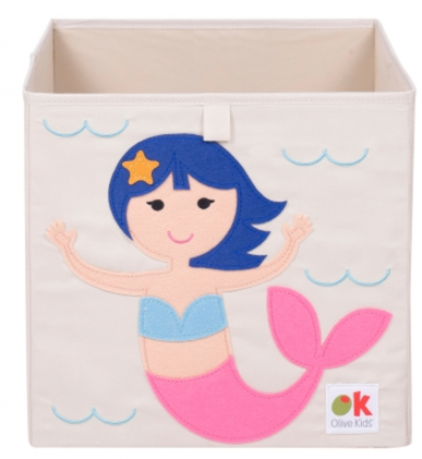 Kids 13x13x13 Inches Storage Cube in Polyester - Felt Mermaid