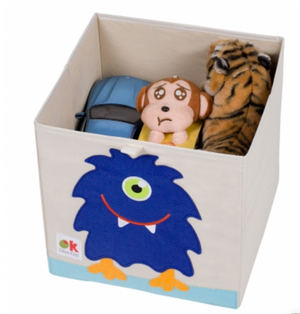 Kids 13x13x13 Inches Storage Cube in Polyester - Felt Monster