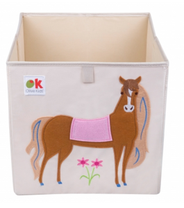 Kids 13x13x13 Inches Storage Cube in Polyester - Felt Horse