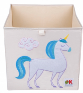 Kids 13x13x13 Inches Storage Cube in Polyester - Felt Unicorn