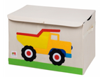 Kids 24x15x14 Inches Storage Chest in Polyester - Felt Construction Truck