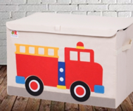Kids 24x15x14 Inches Storage Chest in Polyester - Felt Fire Truck