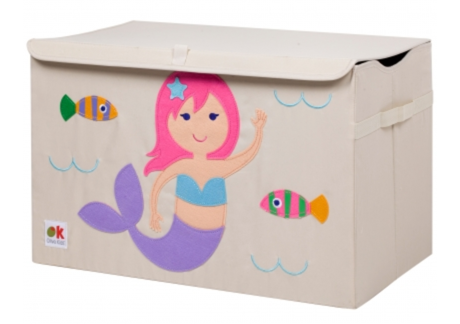 Kids 24x15x14 Inches Storage Chest in Polyester - Mermaid Felt