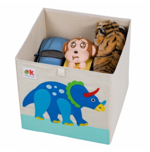 Dinosaur Kids 13x13x13 Inches Storage Cube in Polyester with Felt Triceratops