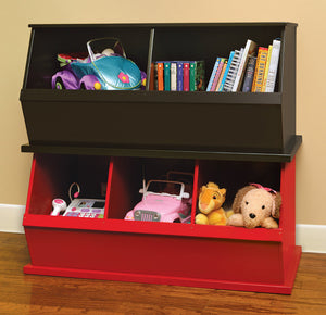 Badger Triple Stackable Storage Cubbies - Red | Toy Box City