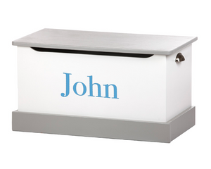 White and Grey Wooden Toy Box - Personalize with a Decal Name!