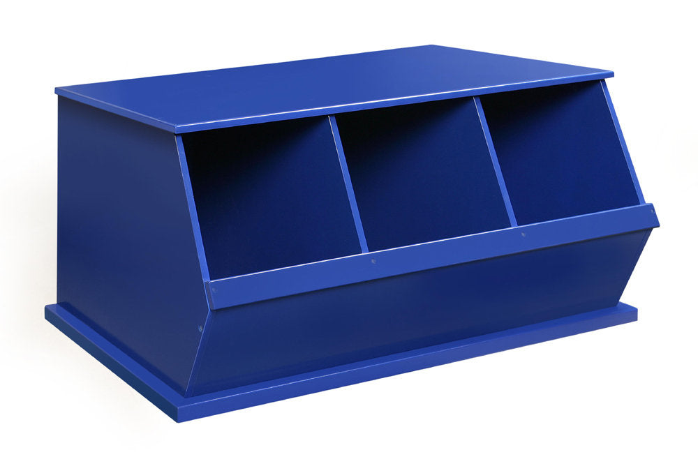 Badger Triple Stackable Storage Cubbies - Blue | Toy Box City