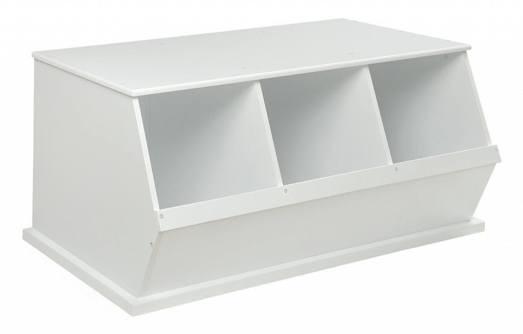 Badger Triple Stackable Storage Cubbies - White | Toy Box City