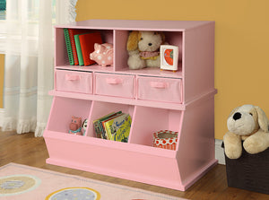 Badger Triple Stackable Storage Cubbies - Pink | Toy Box City