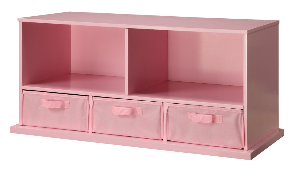 Badger Shelf Storage Cubby with Three Baskets - Pink | Toy Box City