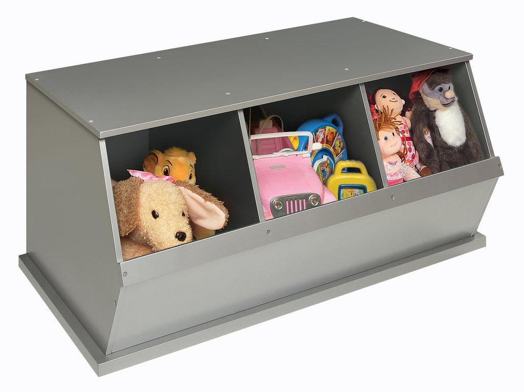 Badger Three Bin Storage Cubby - Silver | Toy Box City