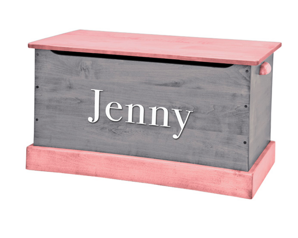 Pink and Grey Wooden Toy Box - Personalize with a Decal Name!