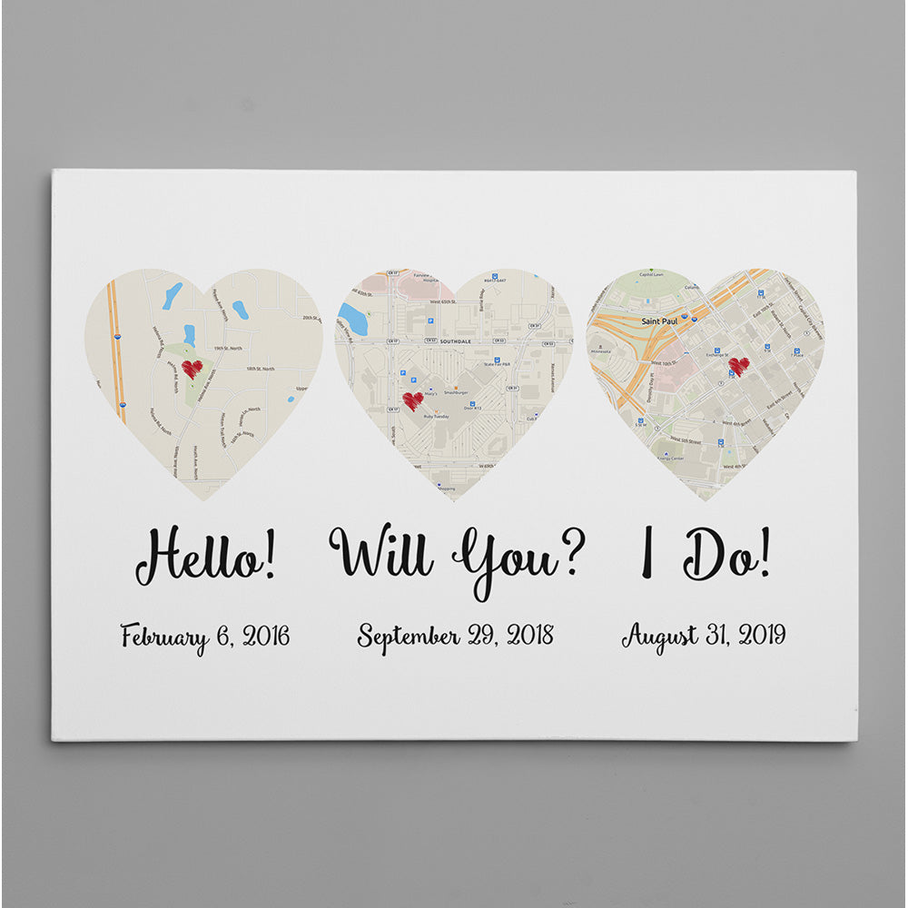 Hello – Will You – I Do – Standard Style – Map Canvas Print