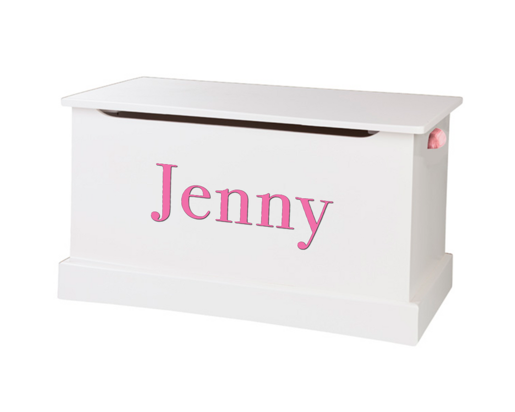White Wooden Toy Box - Personalize with a Decal Name!