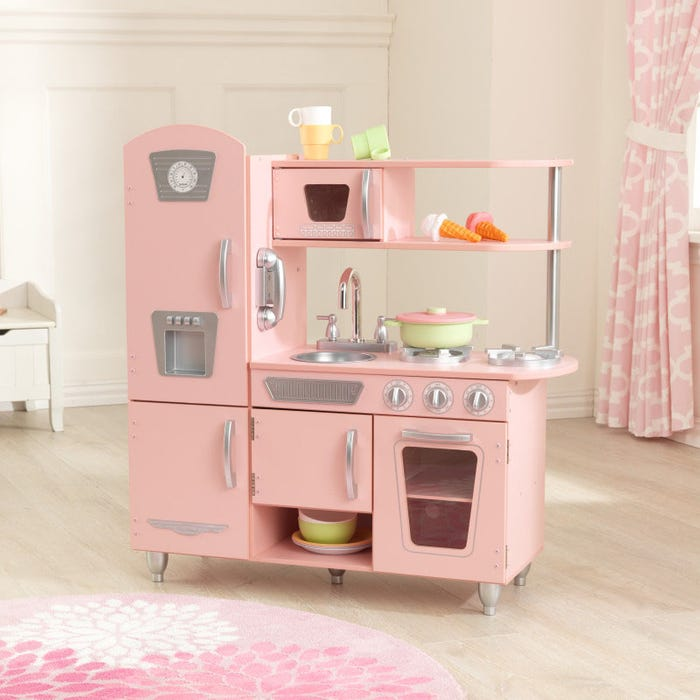 Vintage Play Kitchen Toy for Kids – Pink + Other Colors