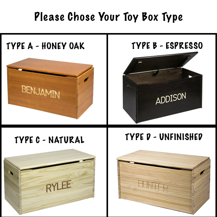 Solid Wood Toy Chest  - Personalized - Unfinished Available.