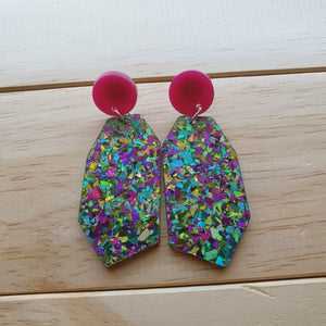 Daphne Dangle (Magenta & Green Fiesta Chunky Glitter)