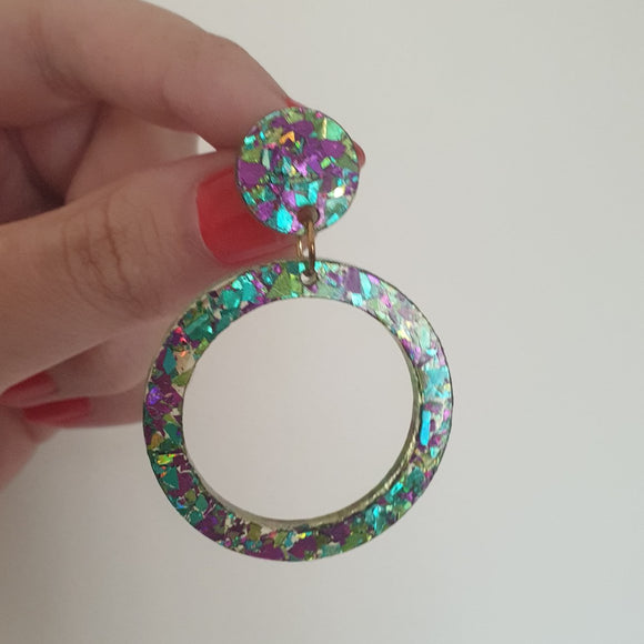 Classic Hoop Dangle - Medium (Green & Purple Chunky Glitter)