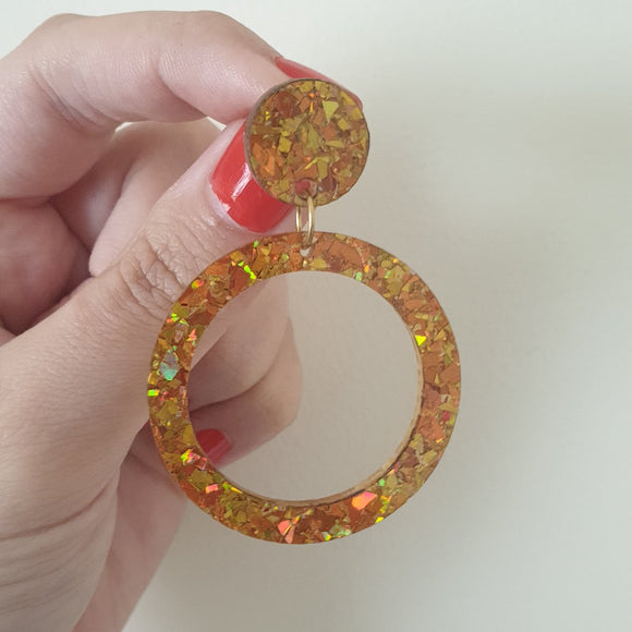 Classic Hoop Dangle - Medium (Gold Chunky Glitter)