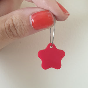Rounded Star Hoops (Red)