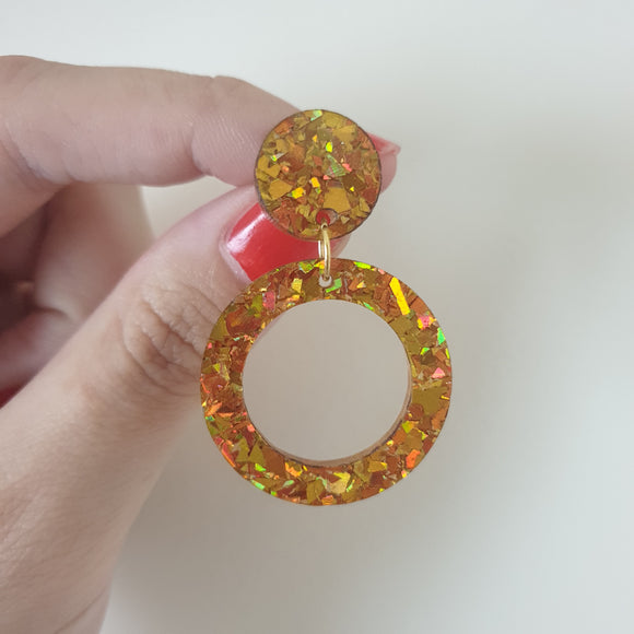 Classic Hoop Dangle - Small (Gold Chunky Glitter)