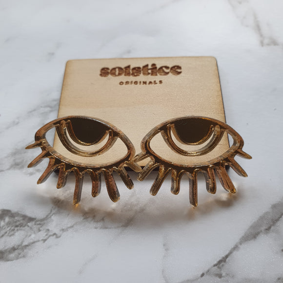 40 Lashes Statement Stud (Gold Mirror)