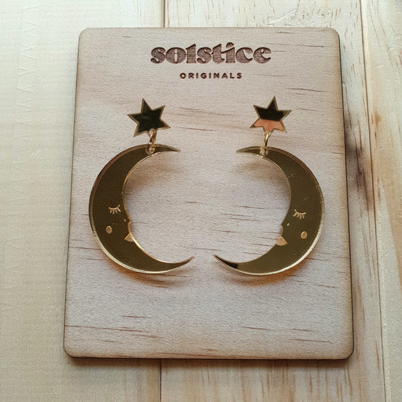 To The Moon and Back Dangle (Gold Mirror)