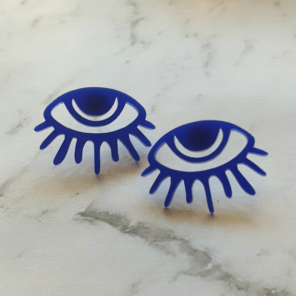 40 Lashes Statement Stud (Cobalt Blue)