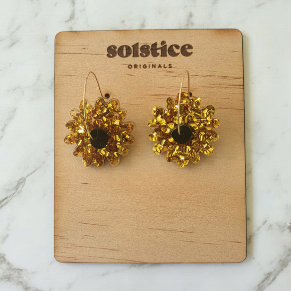 Spinny Flower Hoops (Chunky Gold Glitter + Black)