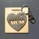 MUM Cut-Out Keyring (Holographic Silver Glitter)