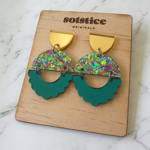 Alexis Dangles (Fiesta Green Glitter + Gold & Teal Mirror)