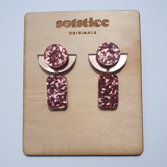Evelyn Dangles (Rose Gold Chunky Glitter & Rose Gold Mirror)