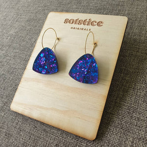 Raquel Hoops (Blue & Purple Chunky Glitter)